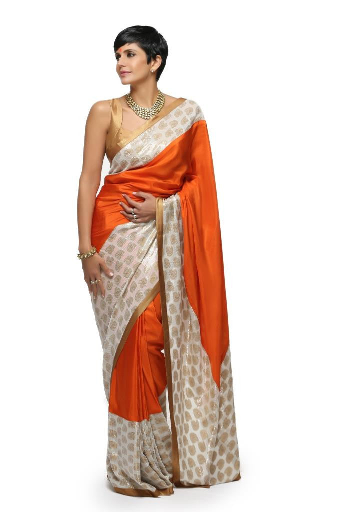 Orange Silk Sari with Sequins Border