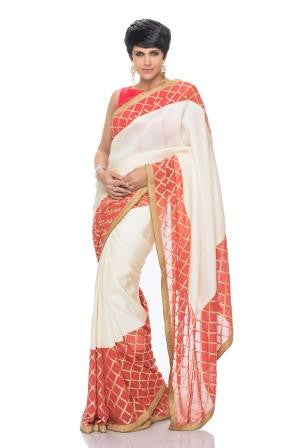 Off White Tussar silk saree with Geometric border