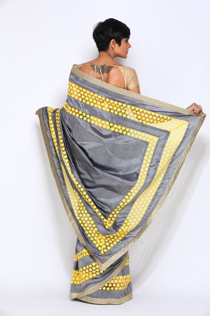 Grey Saree with Yellow Border