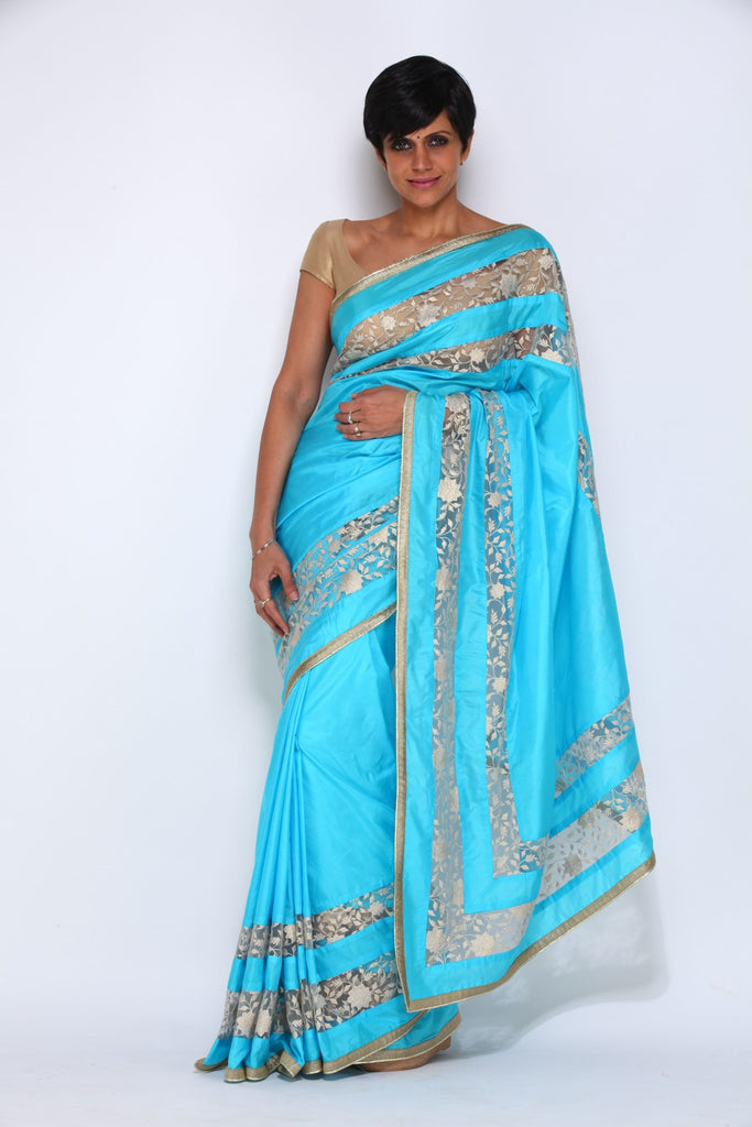 Turquiose Blue Saree with White Borders