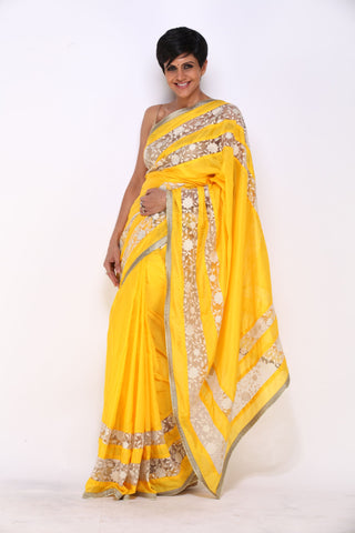 Yellow saree with Inlay Flower Border
