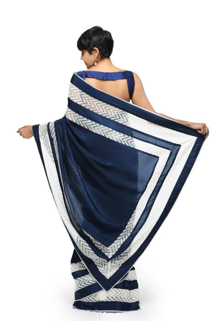 Navy Blue Thread work Sari