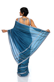 Teal Blue Embroidered Silk Sari