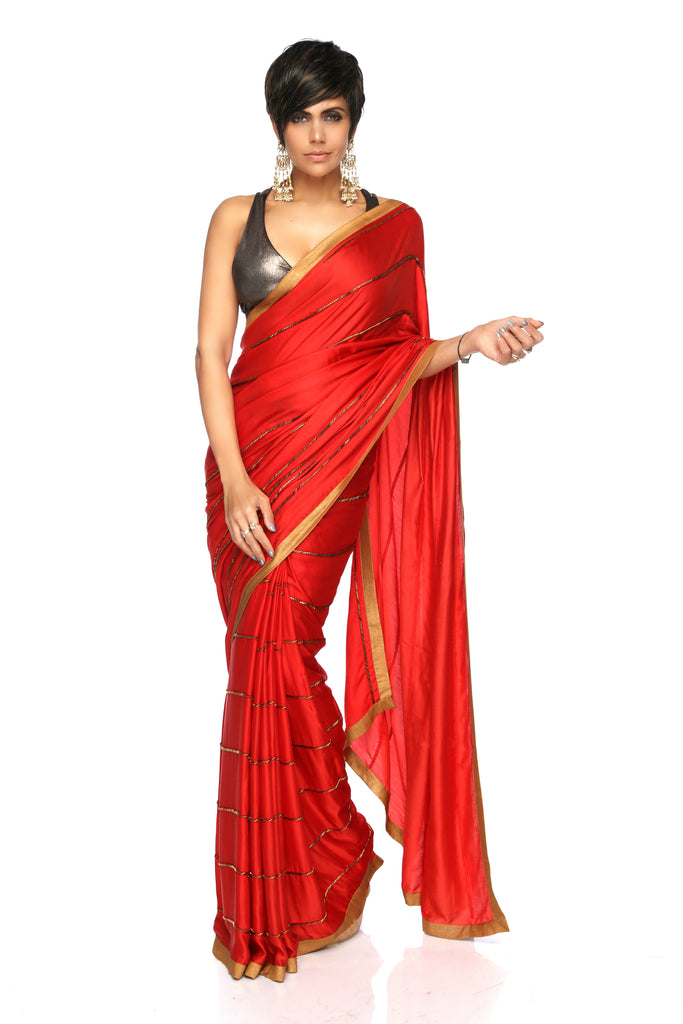 Red Embroidery Saree