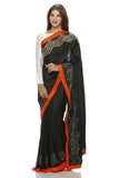 Black silk saree with hand embroidered geometric border