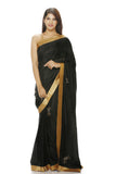 Black silk saree with geometric motifs