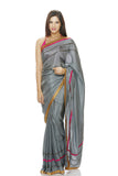Grey silk saree with antique embroidery