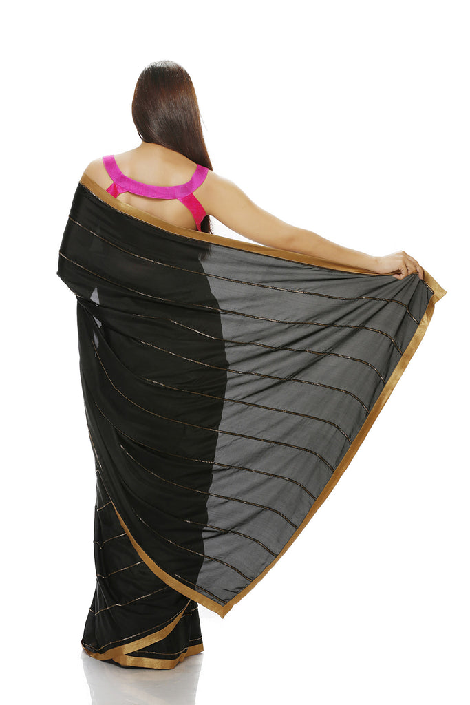 black silk saree with antique beads work