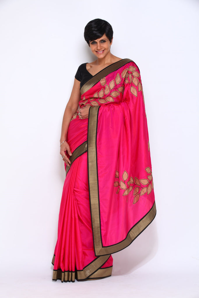 Pink Saree with Leaf Applique Work