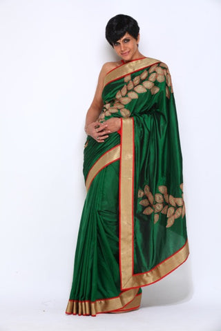 Green Saree with Leaf Applique Work