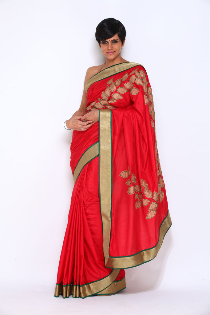 Red Saree with Leaf Applique Work