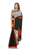black silk saree with patch work