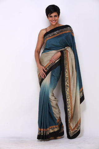 Blue to Grey Shaded Saree With Three Stripe Border