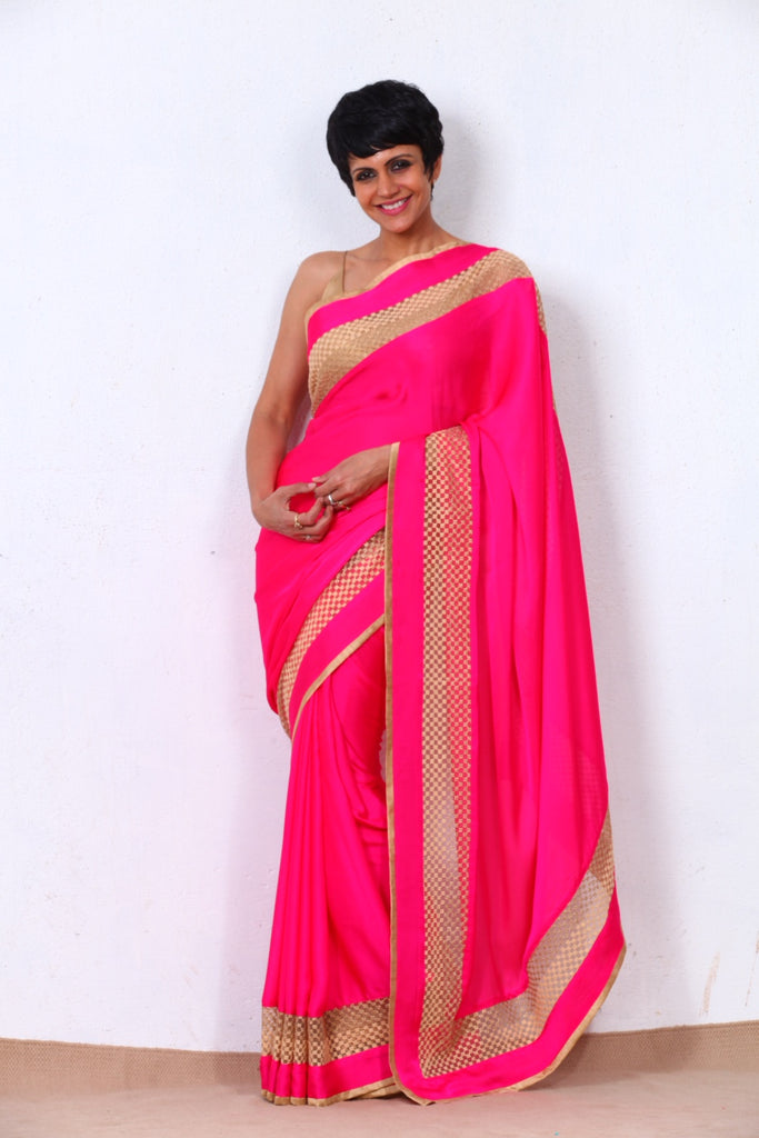 Hot Pink Saree with Golden Net Border