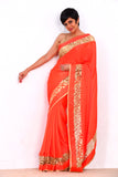 Saree with Inlay Leather Border ( BLUE/ ORANGE)