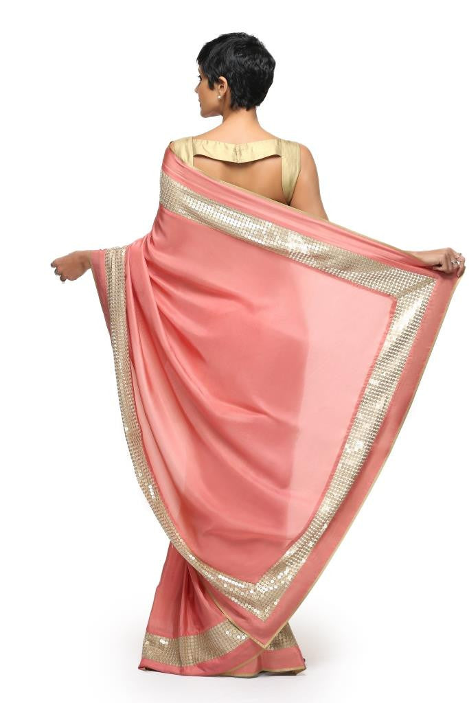 Salmon Pink Sari With Sequins Border