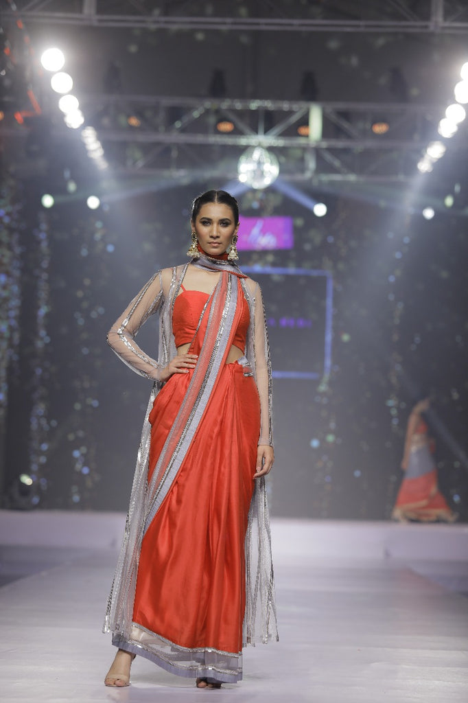 Red Satin Sari with Sequins Jacket