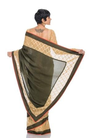 Olive Green saree with Geometric border