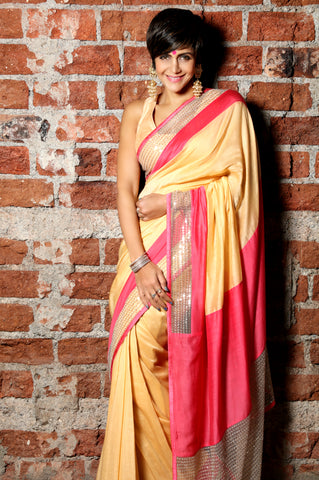 Beige Linen Sari with Double Border