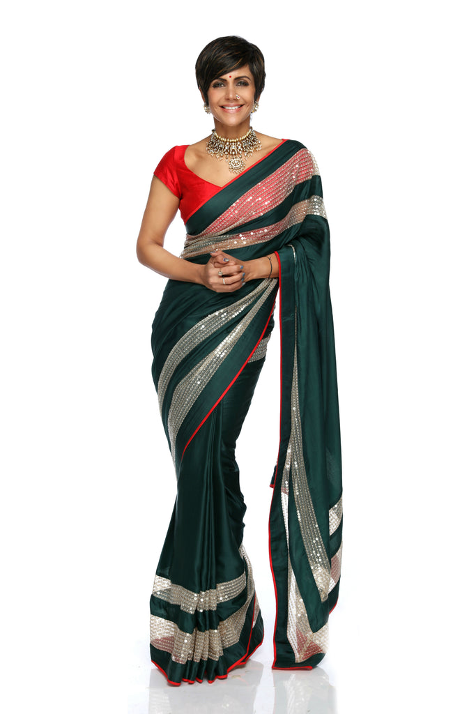 Bottle Green Satin Sari