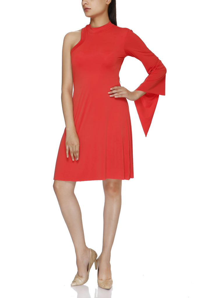 Polo Neck One Shoulder Full Sleeve Dress