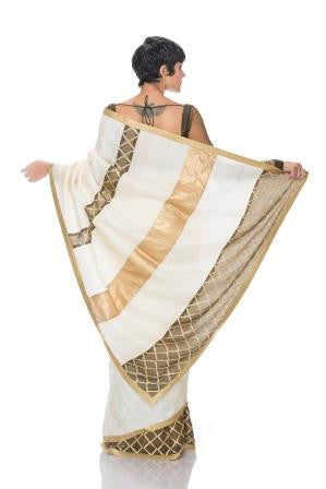 Off White Saree with Olive green and Gold Stripes