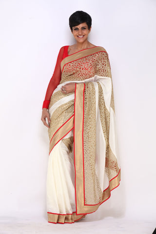 White saree with Zari Work Panels