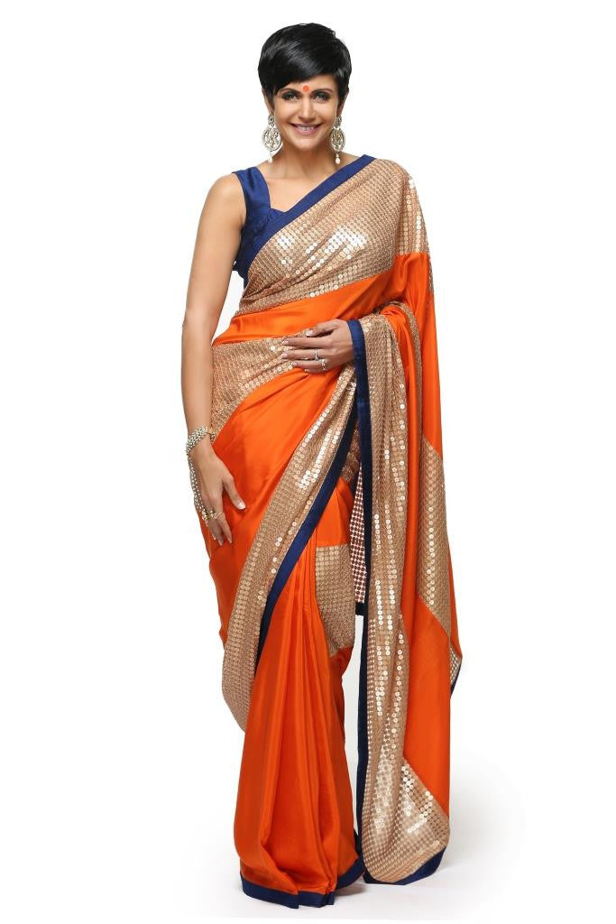 Orange Silk Sari with Sequins panels
