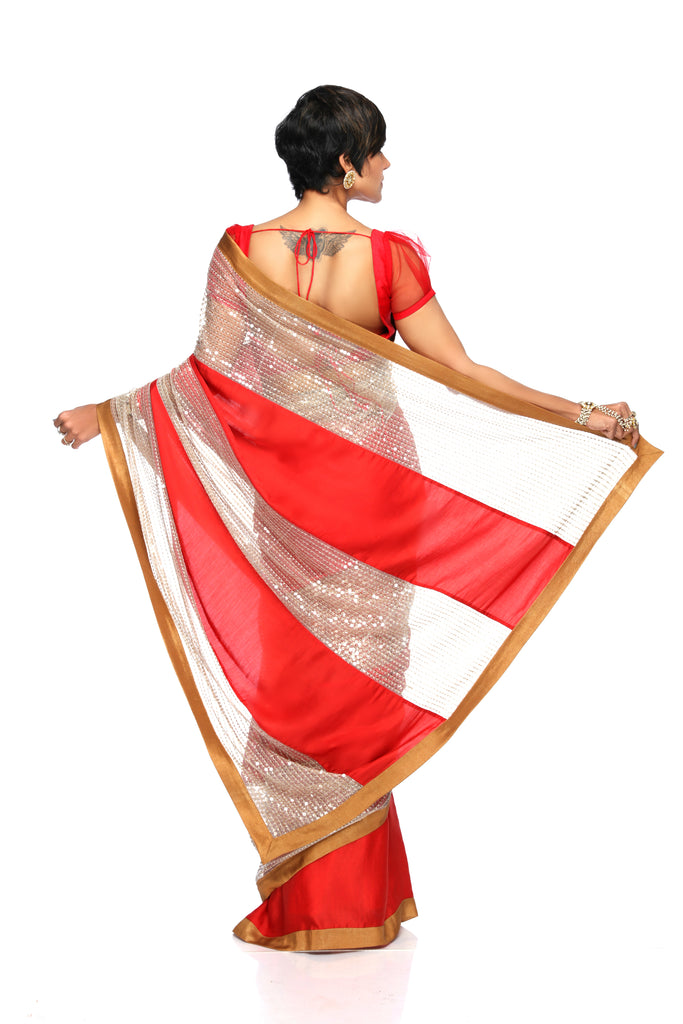 Red Satin Sari with Sequins Panel