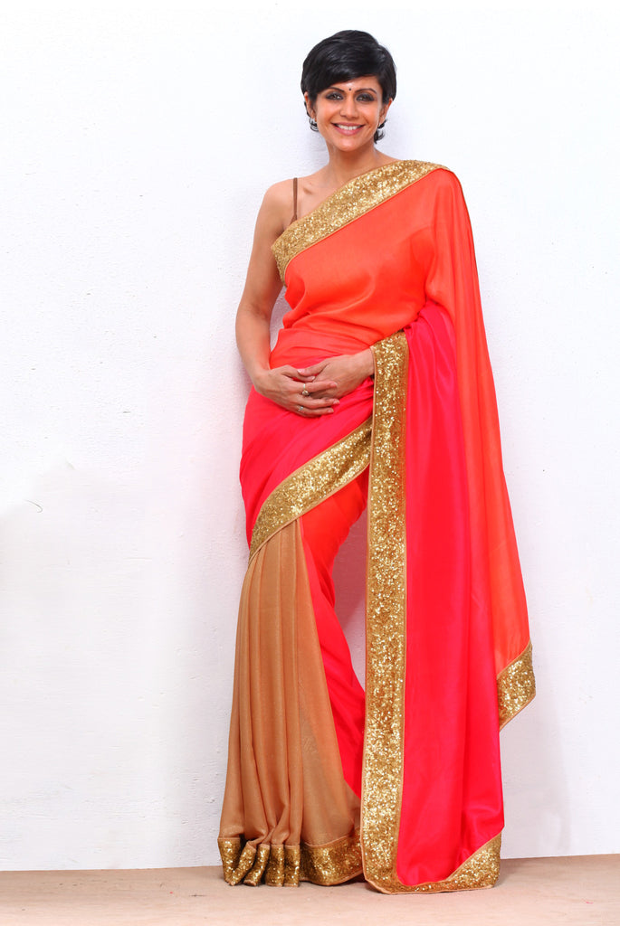 Red Shaded Saree with Sequin Border