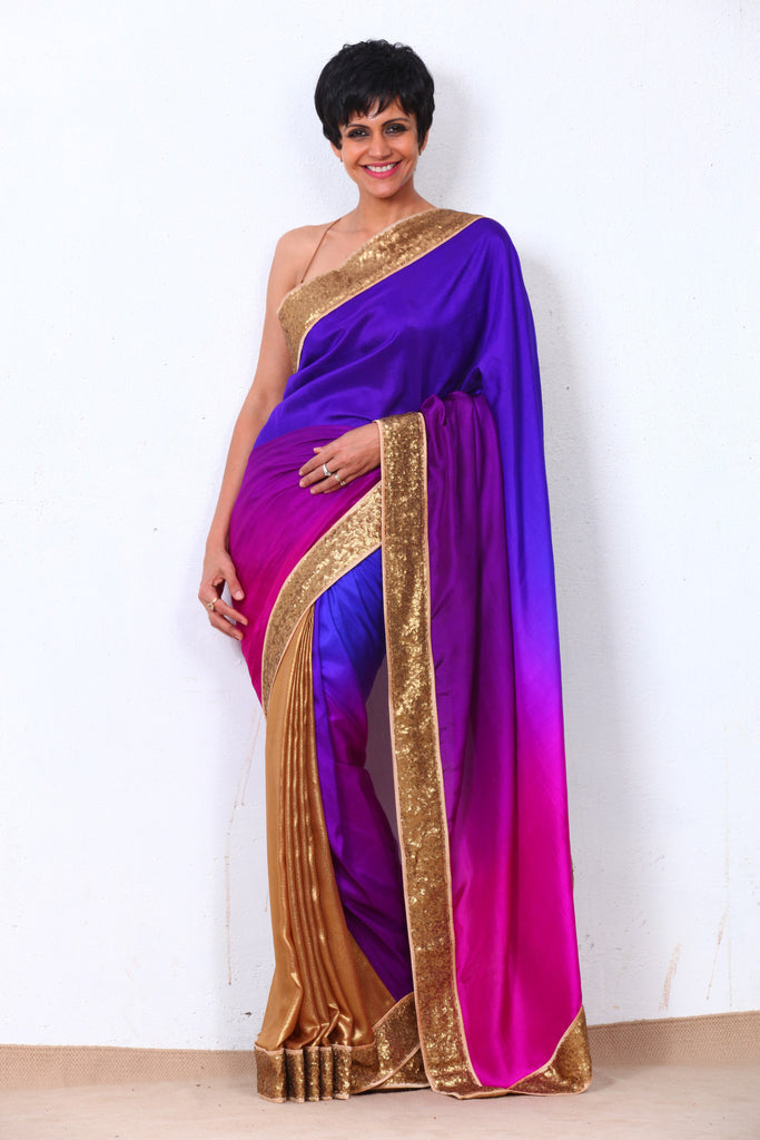 Purple Shaded Saree with Sequin Border