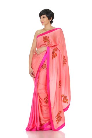 Pink saree with hand embroidered flowers