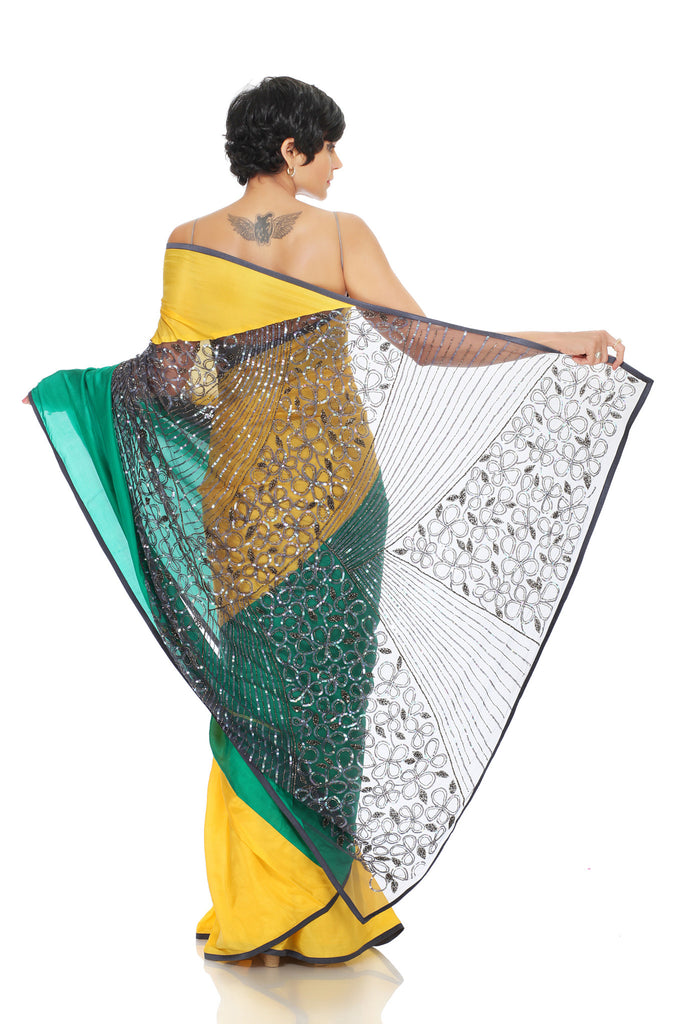 Green and yellow saree with heavy pallu