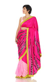 Pink saree with sequin hand embroidery