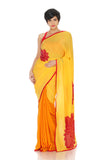 Yellow saree with sequin hand embroidery