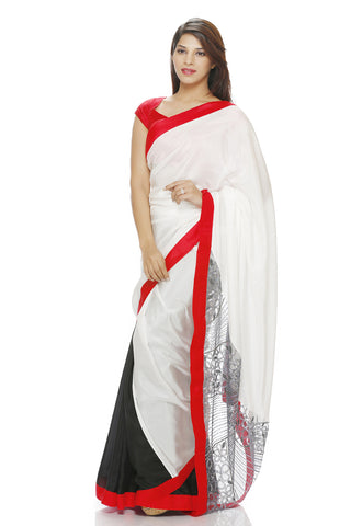 White silk saree with embroidered pallu