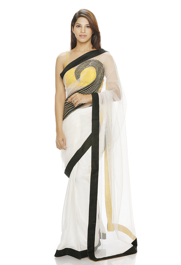 White net and silk saree with motif