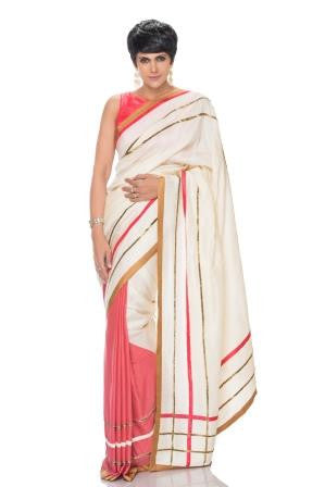 Pink and Off White Silk Saree with Antique Embroidery