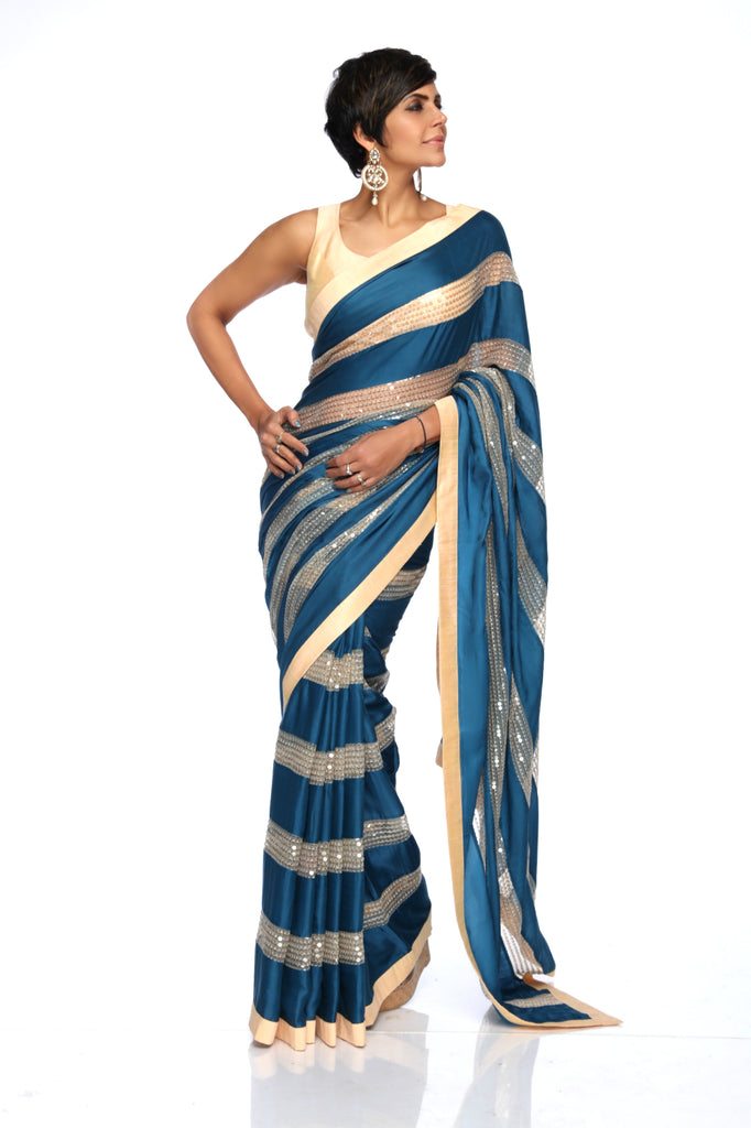 Teal Blue & Beige Sequins Sari