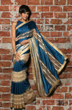 Teal Blue & Beige Stripe Sequins Sari