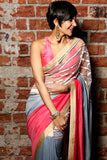 Pink , Grey & Rasberry Stripe Sari