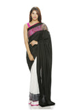 Half and half silk saree with inlay border