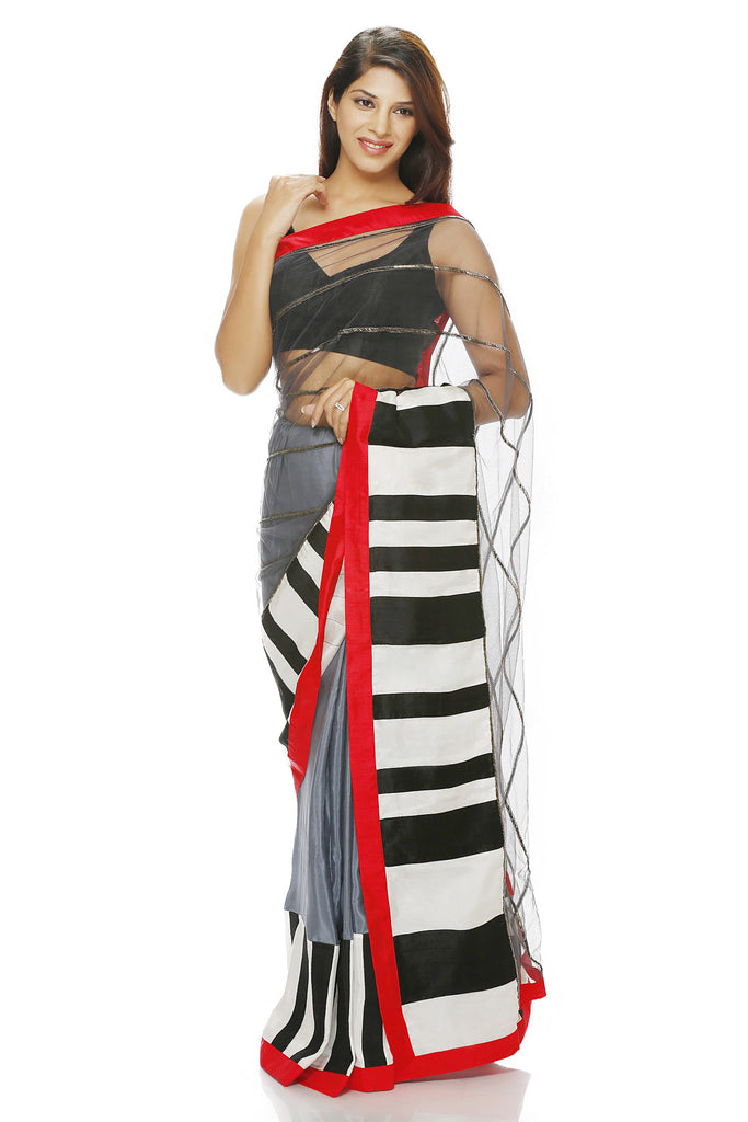 Grey Net and silk saree with embroidered lines