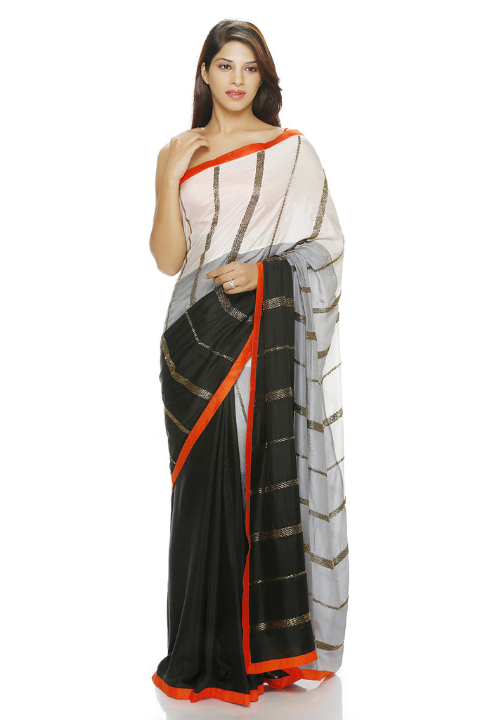 black, white & grey panelled saree with embroidery