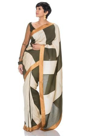 Olive  Green and Off White Stripe Saree