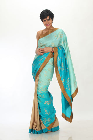 Blue tussar silk Saree with Gold Border