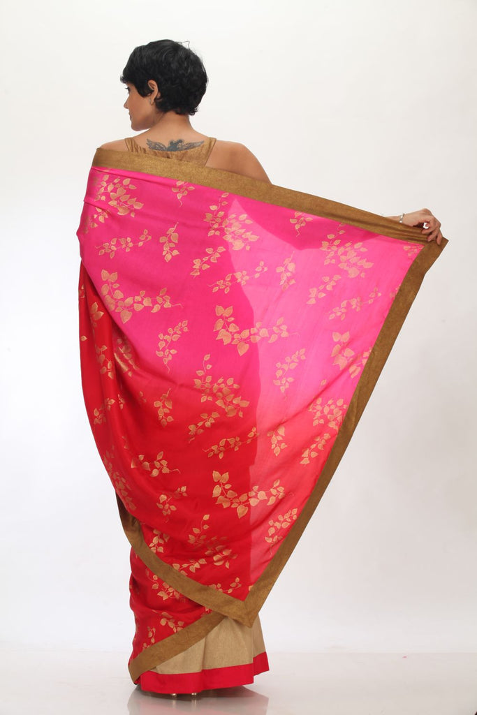 Pink tussar silk Saree with Gold Border