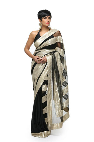 Black Sari with Sequins stripes