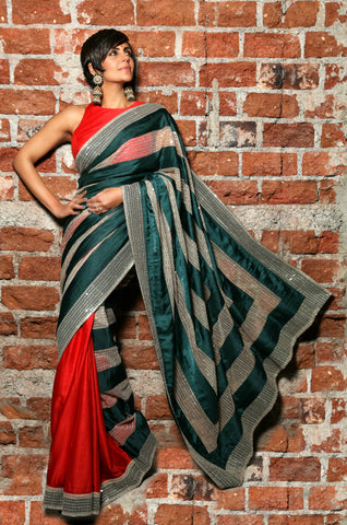 Red & Green Sari with Sequins stripes