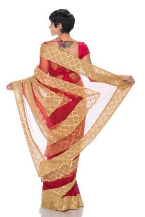 Maroon saree with Beige and Maroon stripes